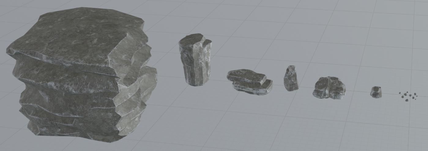 A set of 3d rock models on a grid background