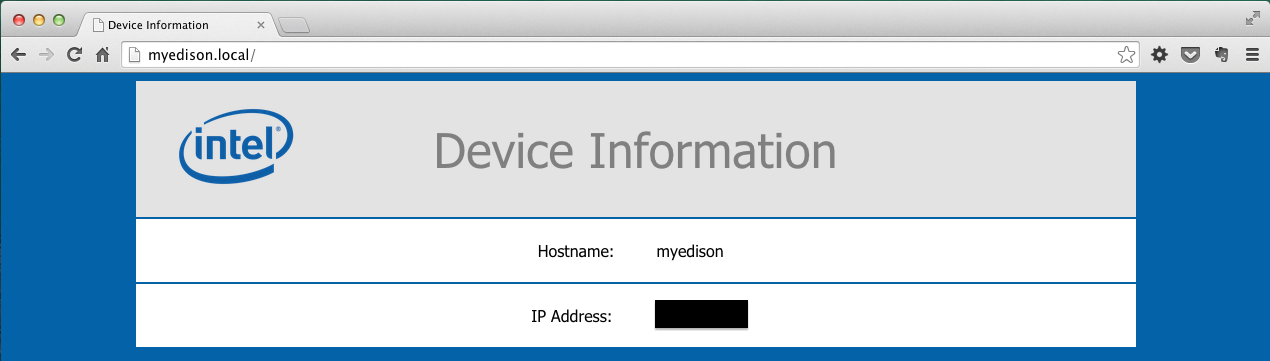 Edison device information in browser
