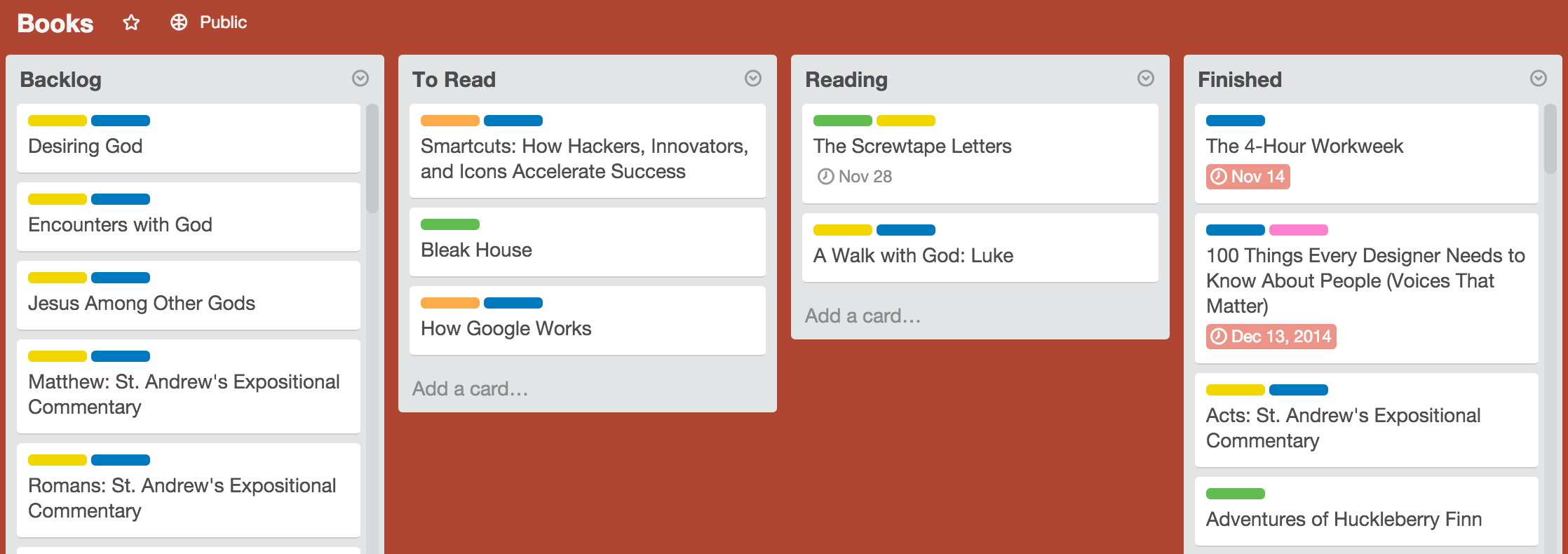 Trello Books board
