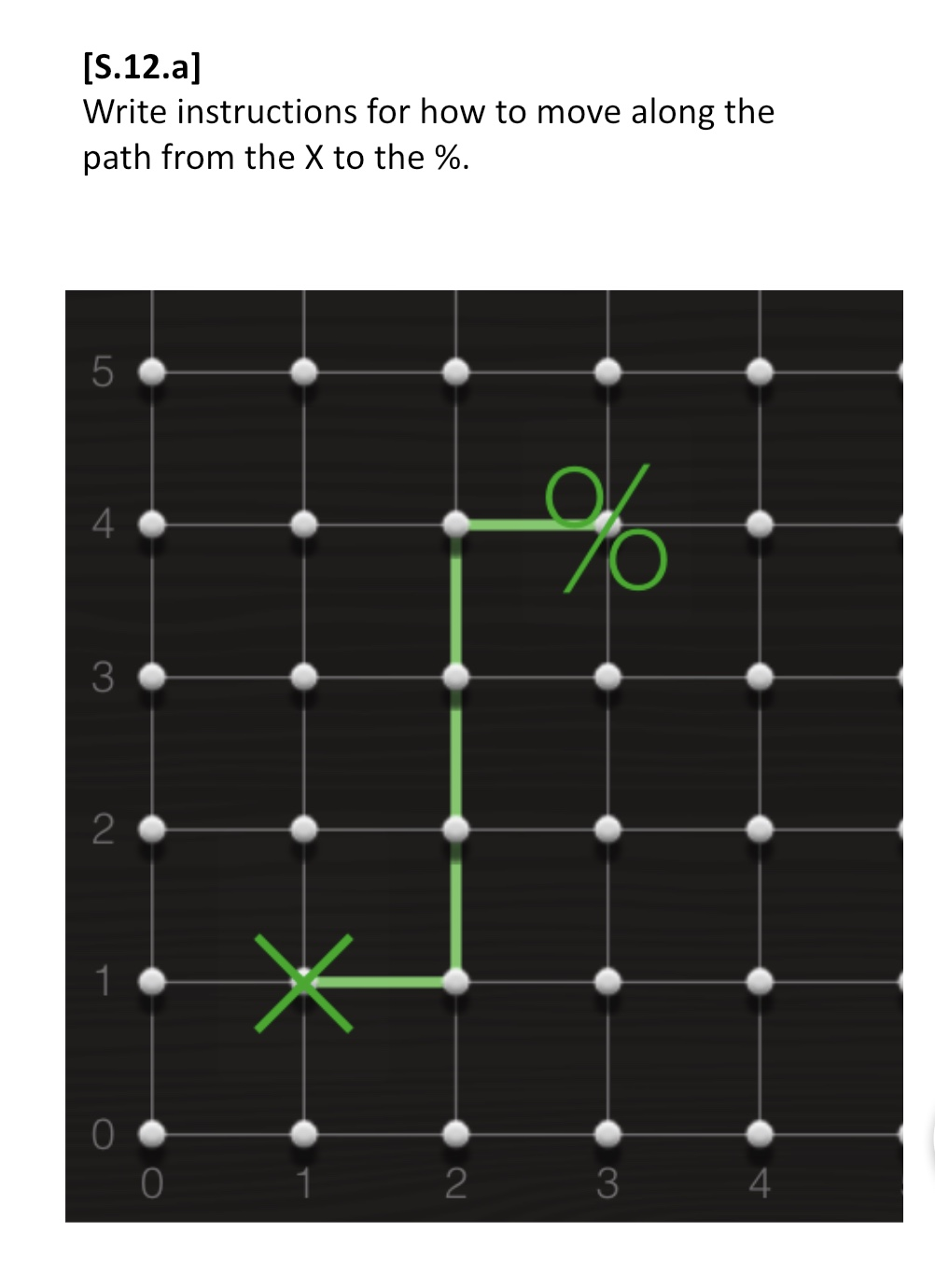 Sequencing assessment item asking students 'Write instructions for how to move along the path from the X to the %' followed by a graphic showing quadrant 1 of a coordinate plane from the origin to (4,5) with an X on (1,1) connected to a % (percent sign) at (3,4) via a path from (1,1) to (2,1) to (2,4) to (3,4)