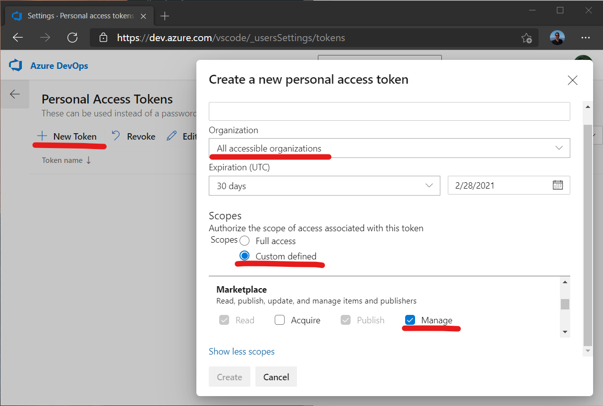 Create personal access token