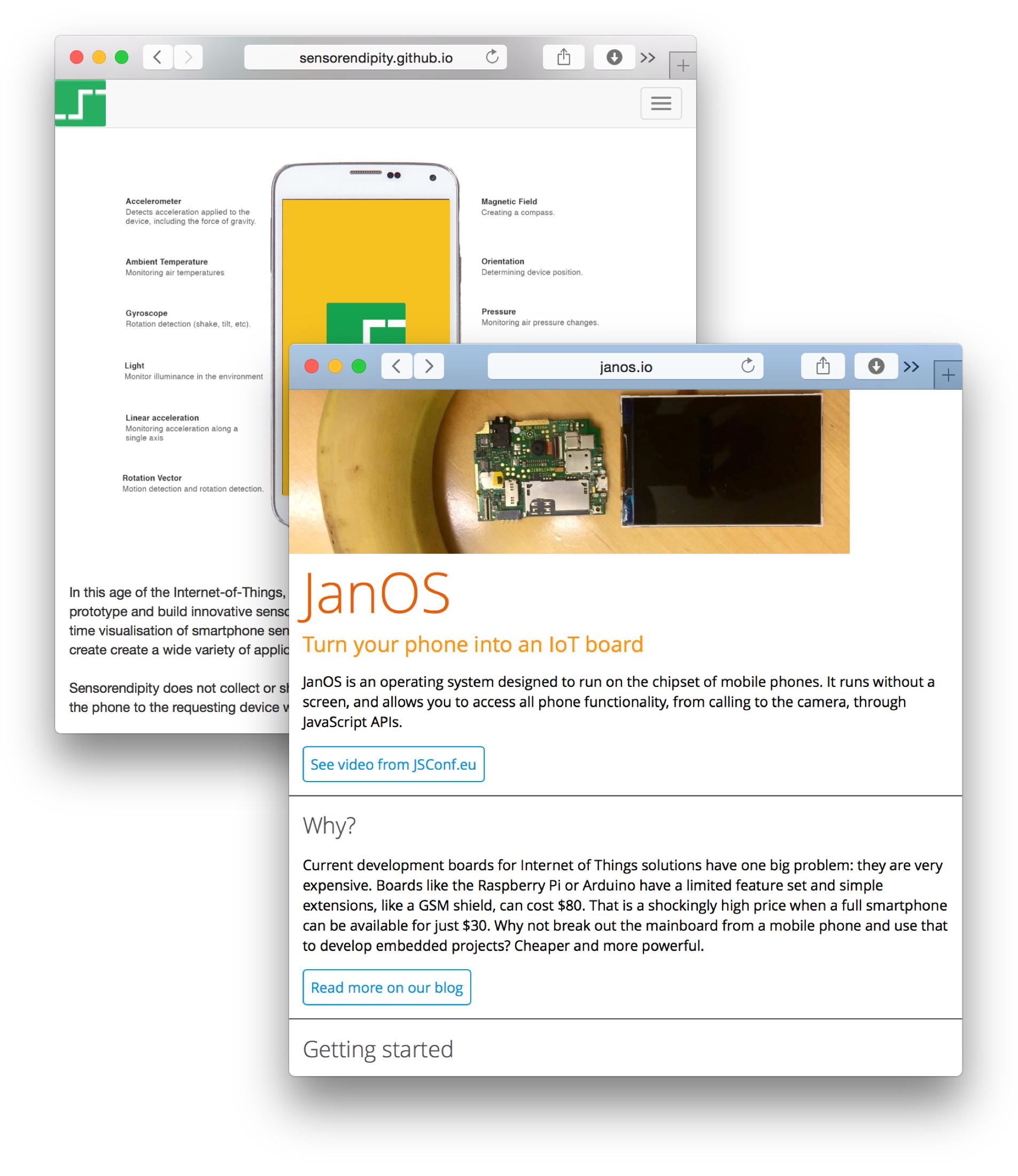 Sensorenditpity in Android and JanOS in FirefoxOS to access sensor values in phones with