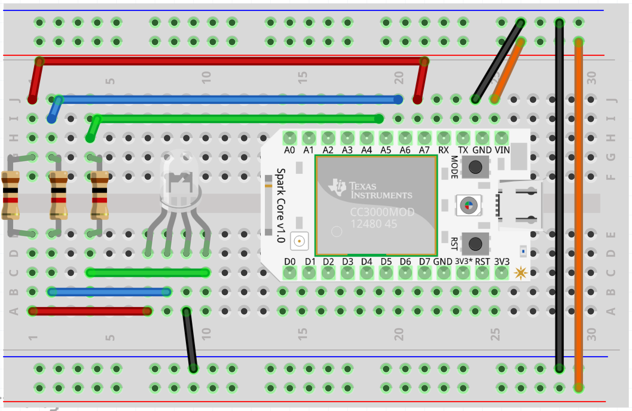Wiring breadboard with an RGB LED and Spark core