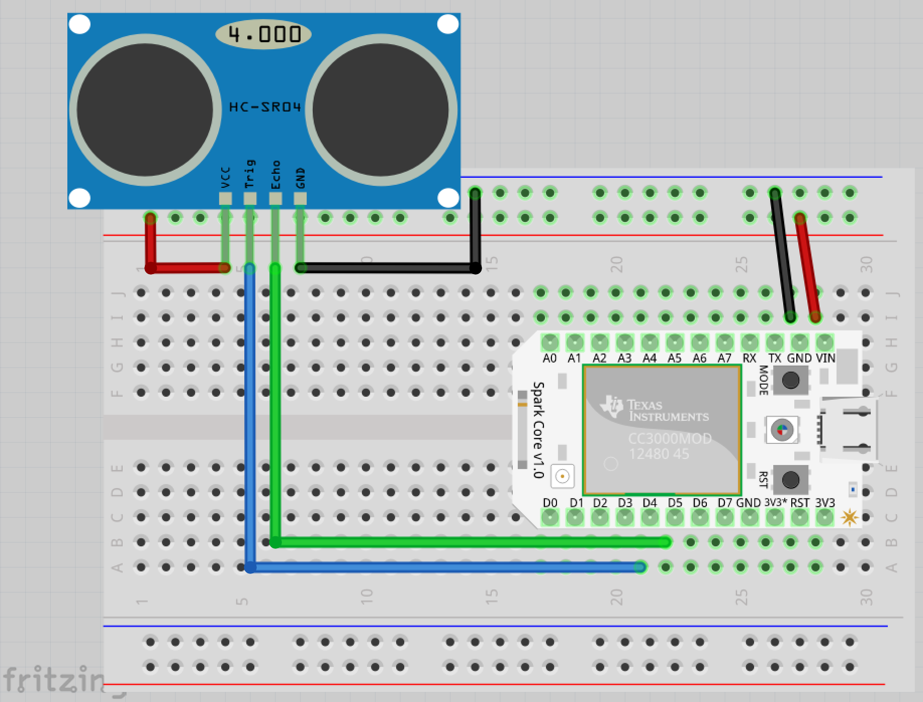 Wiring proximity sensor with Spark Core